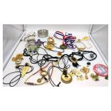 Lot of costume jewelry, a Bush/Quayle pin, fidget