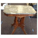 Antique marble top accent table with metal