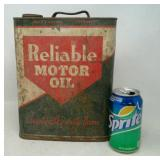 Vintage 2 Gallon Metal Reliable Motor Oil Can