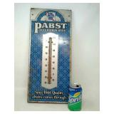 Vintage Pabst Blue Ribbon Metal Thermometer