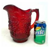Vintage Red Glass Pitcher approximately 8in tall