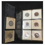 Small 6 page vinyl coin collector album w/coins.