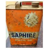 Vintage Saphire 2-gallon motor oil can.