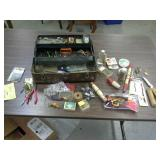 Vintage metal tackle box and contents.