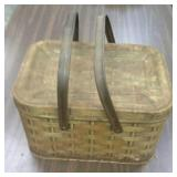 Vintage metal picnic basket, approximately