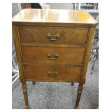 Vintage 3 Drawer Sewing Table Table. Approx