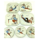 Vintage ponytail tin plates