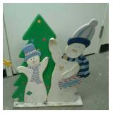 Wooden snowmen welcome sign. Approximately 21""