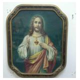 Vintage framed religious wall hanging.