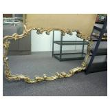 Rectangular,  gold finish wall mirror,