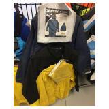 Blue rain suit size large, black jacket size