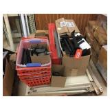Pallet of metal shelving, peg board attachments &