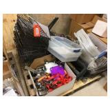 Pallet of baskets, chrome retail hooks & assorted