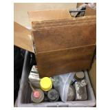 Box of lubricants & tub of garage related items