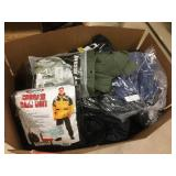 Box of protective clothing & rain gear