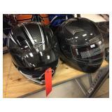 2 full face helmets size XXL & XS