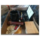 Crown Royal flask, hinges box, pocket knife &