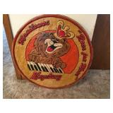 Wood carved Kingsbury sign 32 inch diameter