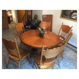 Dining table with 6 chairs & leaf 48 inch