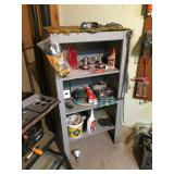 Gray wood shelving unit & contents 28x19x53