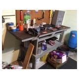 Wood work bench with steel top 72x24x38