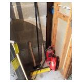 Extension cord, fire extinguisher, axe & broom