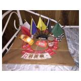 Kingsbury cards & assorted flags