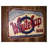 Wood carved white cap beer sign 30x22