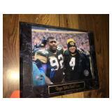 Reggie White & Brett Favre plaque 11x13
