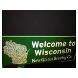 34x14 New Glarus tin sign & assorted signs