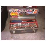 Metal tool box & assorted craftsman sockets