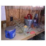Pail, bracket & assorted on shelf