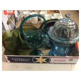 Compote, covered jar, green glass & assorted