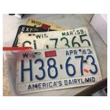 Assorted metal license plates