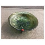 Footed carnival glass bowl 7.5 inch diameter x 3