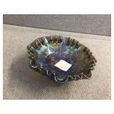 Footed carnival glass bowl 8 inch diameter x 3