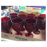 Set of 8 red goblets