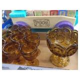 Amber colored glass & goblets