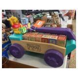 Winnie the Pooh wagon &!building blocks. 17x10x7