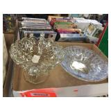 Pressed glass footed bowl & glass bowls