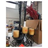 Grouping of candles & assorted decorators