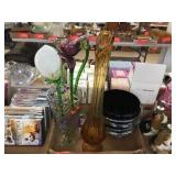 Assorted vases & glass flowers