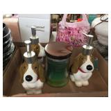 Jar candle, dog soap dispensers