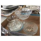 Glass compote & glass bowls