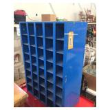 Blue metal parts cabinet 24x12x34