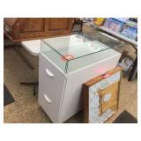 2 drawer cabinet with glass top 14x31x36