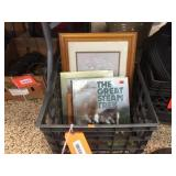 Plastic crate, books & frames