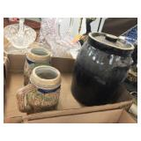 Stoneware cookie jar & 2 mugs