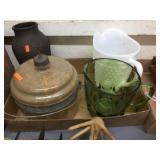 Glass kerosene holder, pitchers & vase