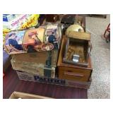 Wood scoop, hinged box, cigar boxes & assorted